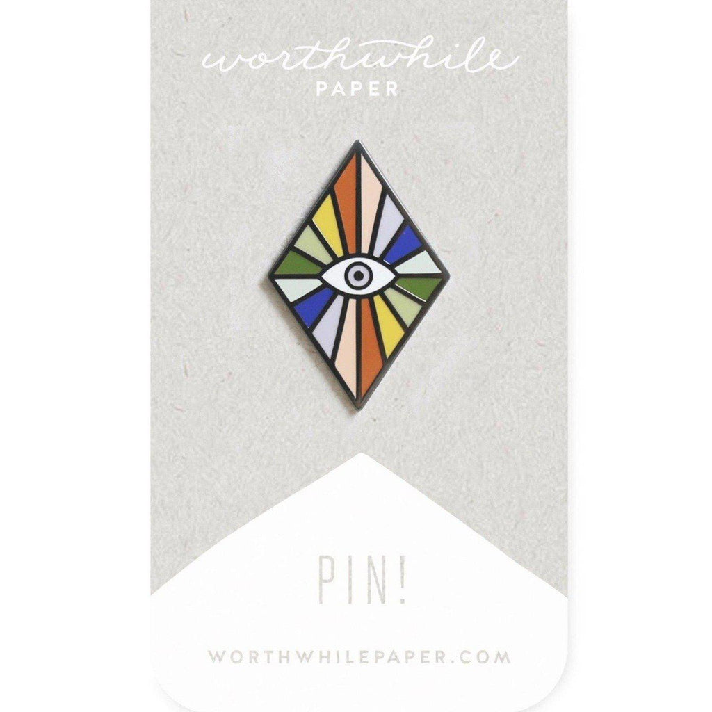 rainbow eye enamel pin
