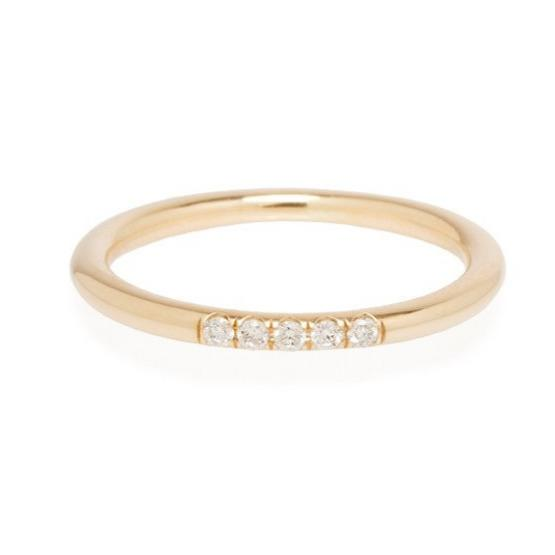 zoe chicco 14k round band set with 5 white diamonds 7