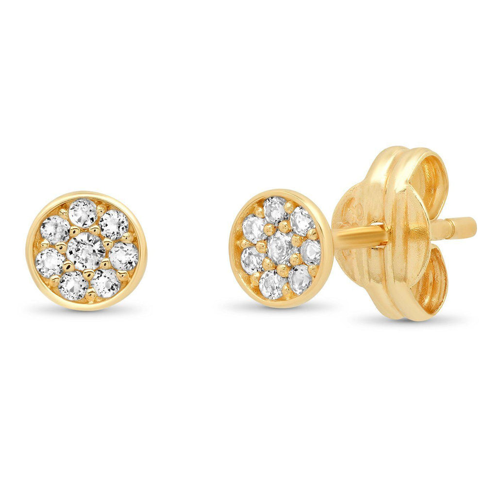 14k gold whitetopaz disc stud