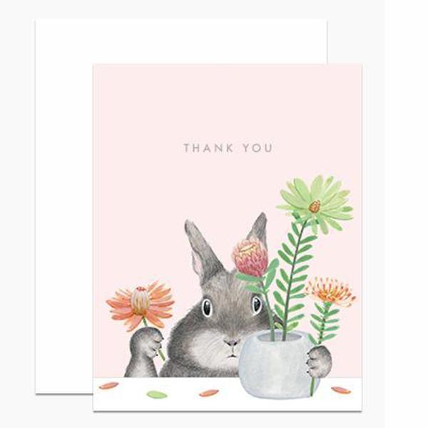 thank you bunny arranging protea card