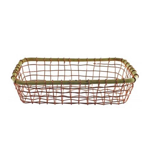 Wire & Cane Rectangular Copper Basket