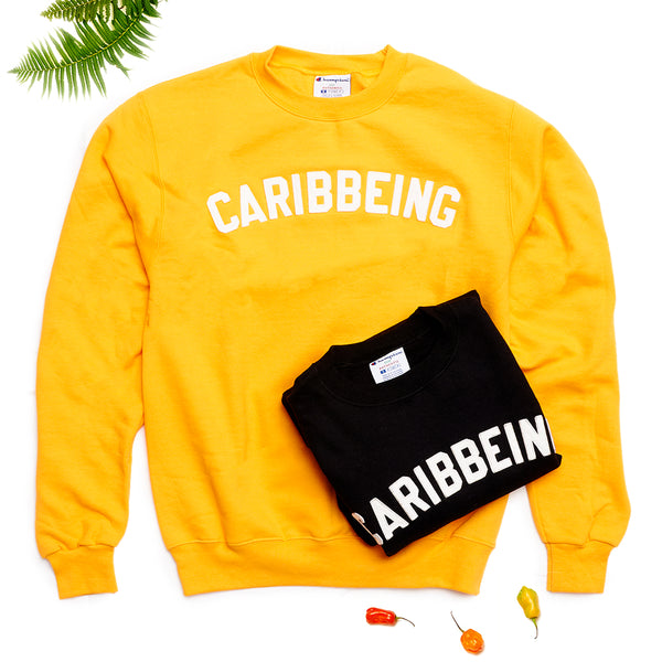 CARIBBEING Varsity Crewneck in yellow and black.