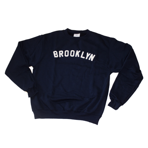 BROOKLYN Varsity Crewneck with Sewn Felt Lettering