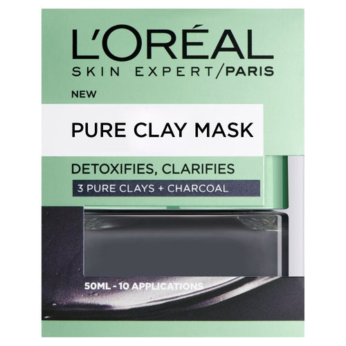 Pure Clay Charcoal Mask- Detoxifying & Clarifying, Black 50ml