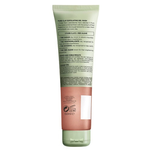 Pure Clay Red Algae Exfoliating Face Wash, Red 150ml