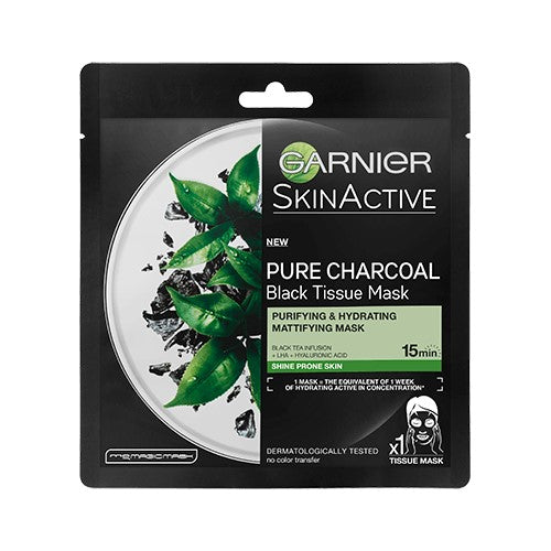 Pure Charcoal Black Tea Tissue Mask, Mattifying