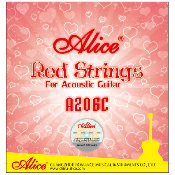 Alice A206C Red Acoustic Guitar Strings 011-052