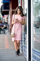 SALE - Shift Panel Dress - Dusty Rose