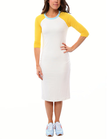 SALE - Raglan Sleeve Nursing Dress - White/Lemon/Blue Spa