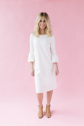 SECOND - Ivory - Bell Sleeve Nursing Dress