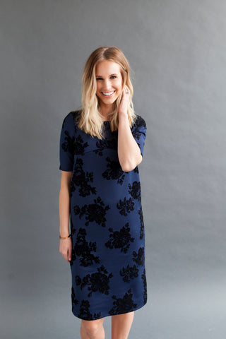 Shift Nursing Dress - Navy Floral