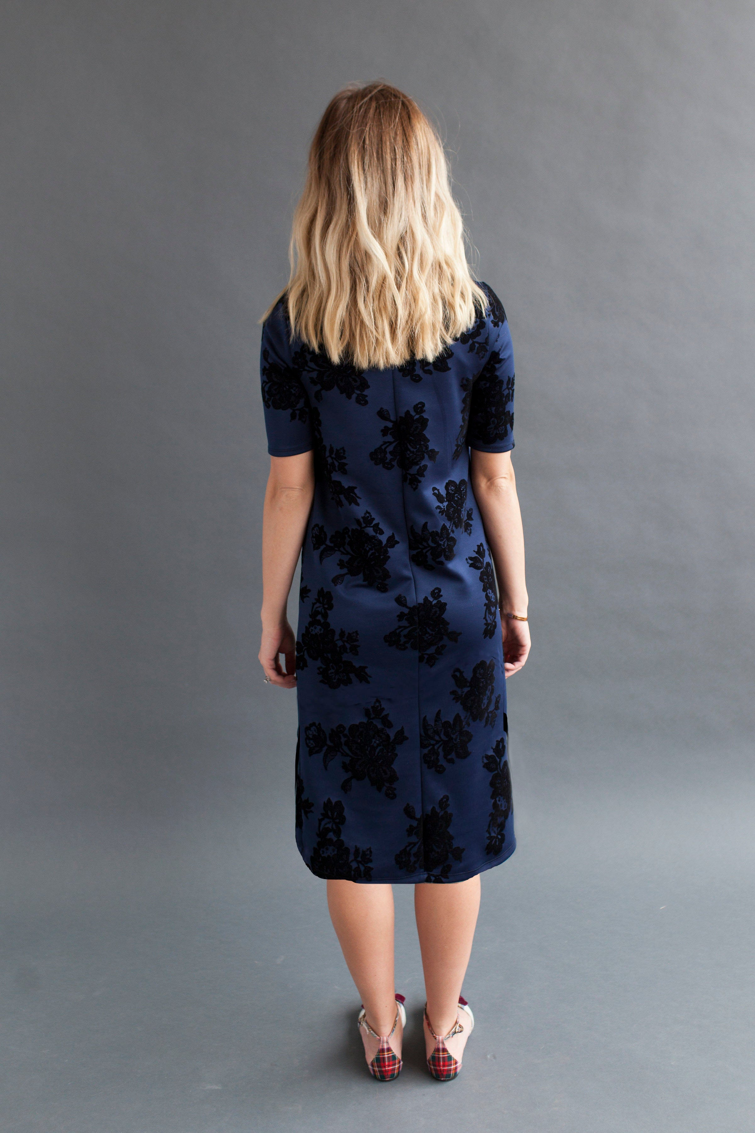 Shift Nursing Dress - Tall - Navy Floral