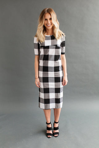 Shift Nursing Dress - Tall - Black Gingham