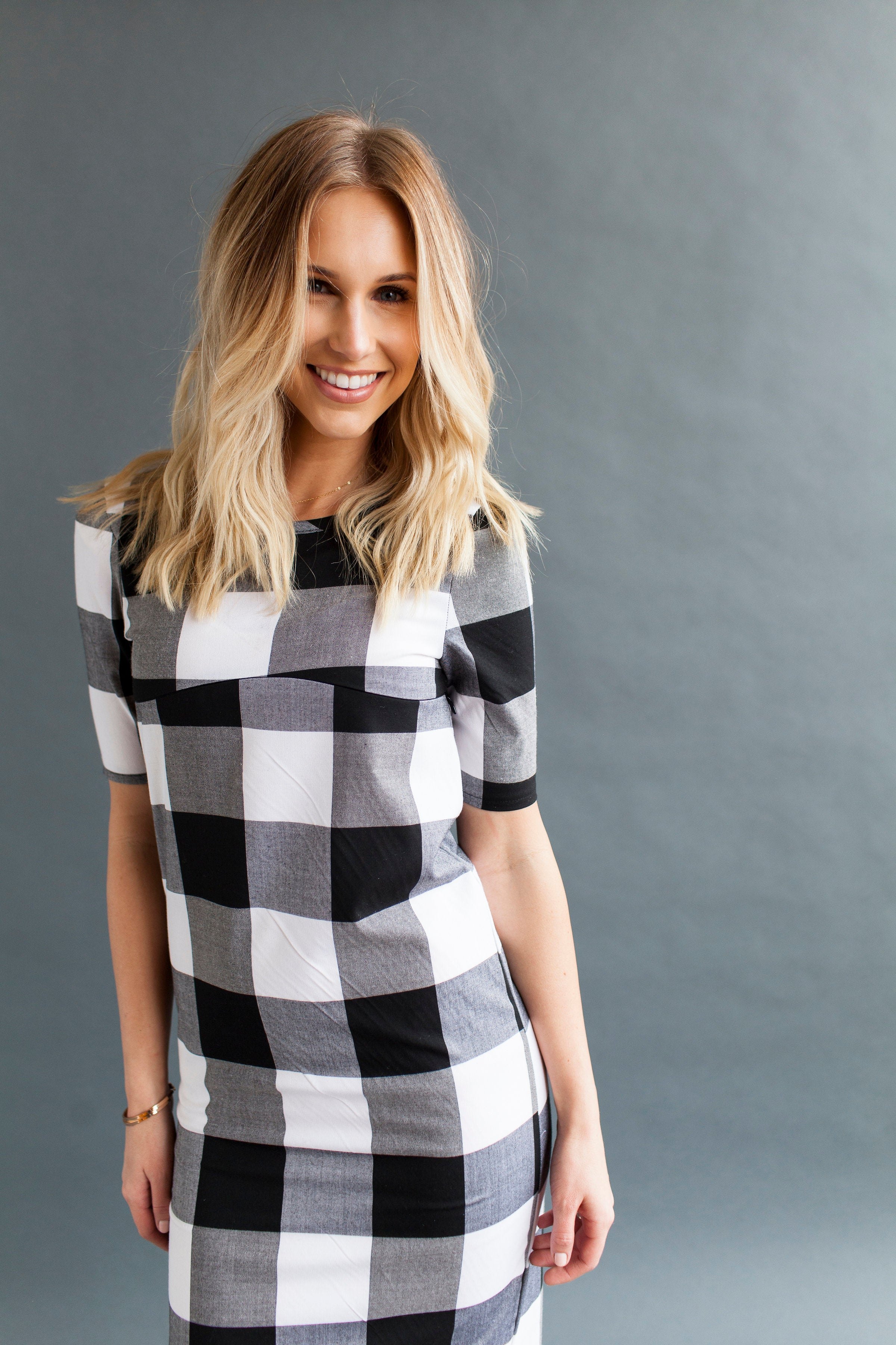 Shift Nursing Dress - Black Gingham