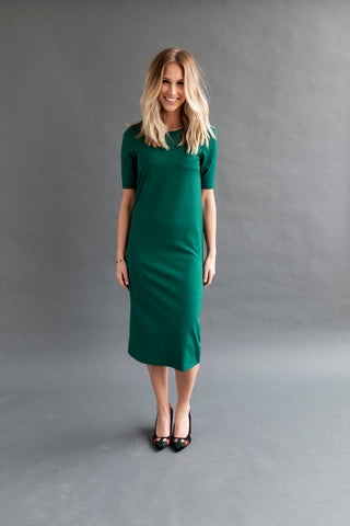 Navy - Bell Sleeve Nursing Dress