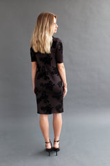 Shift Nursing Dress - Black Floral