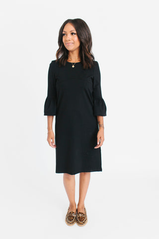 Black - Bell Sleeve Nursing Dress