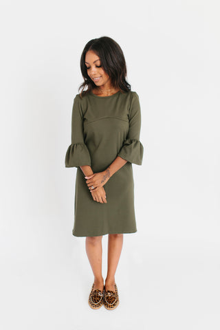 Velvet Wrap Front Dress - Ice