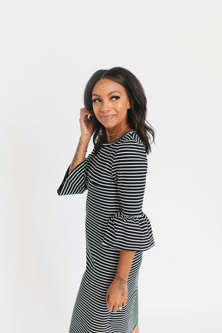 Black Stripe - Bell Sleeve Nursing Dress
