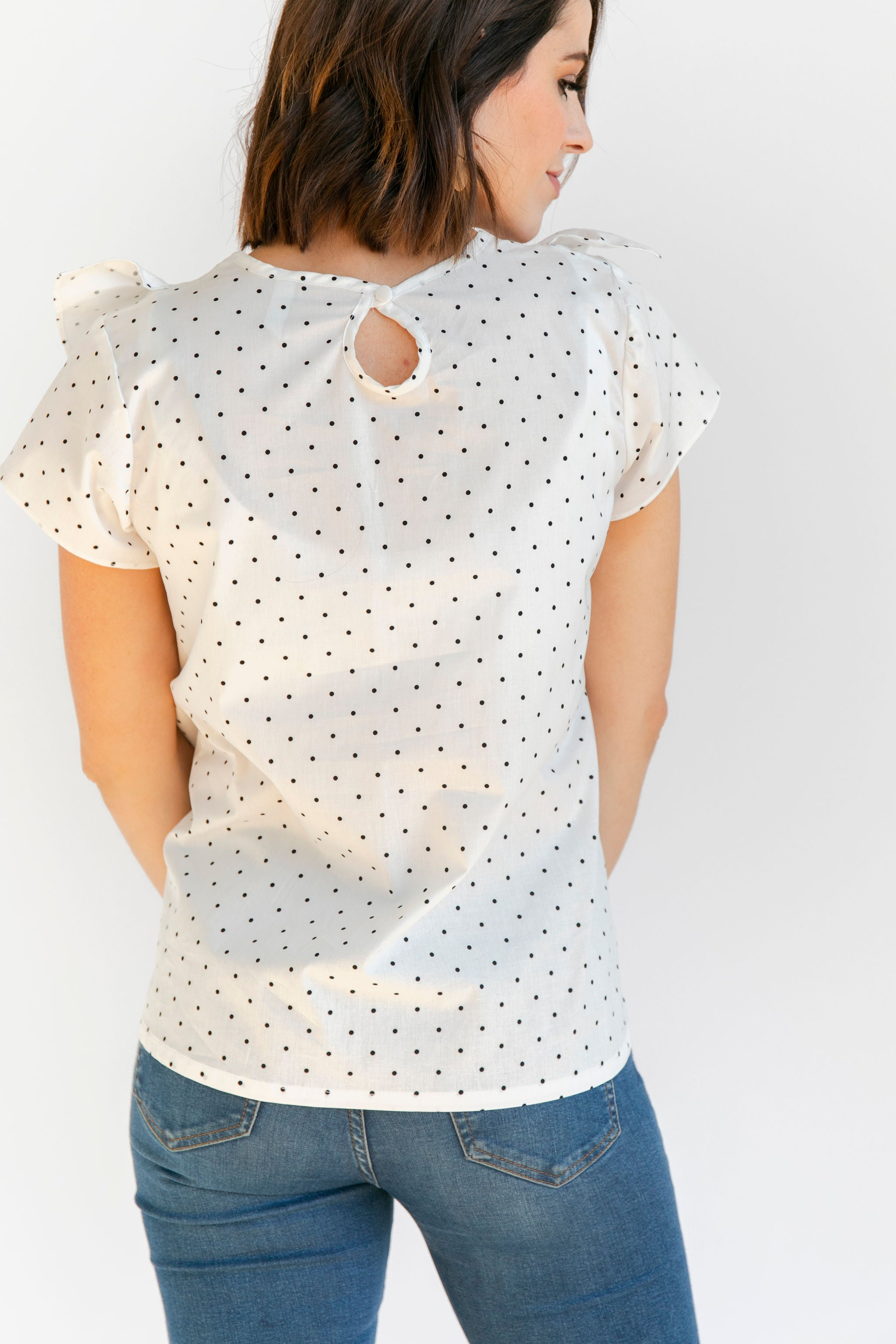 The Ruffle Top - White + Black Dot