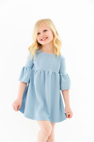 MINI - Chambray - Ruffle Bell Dress