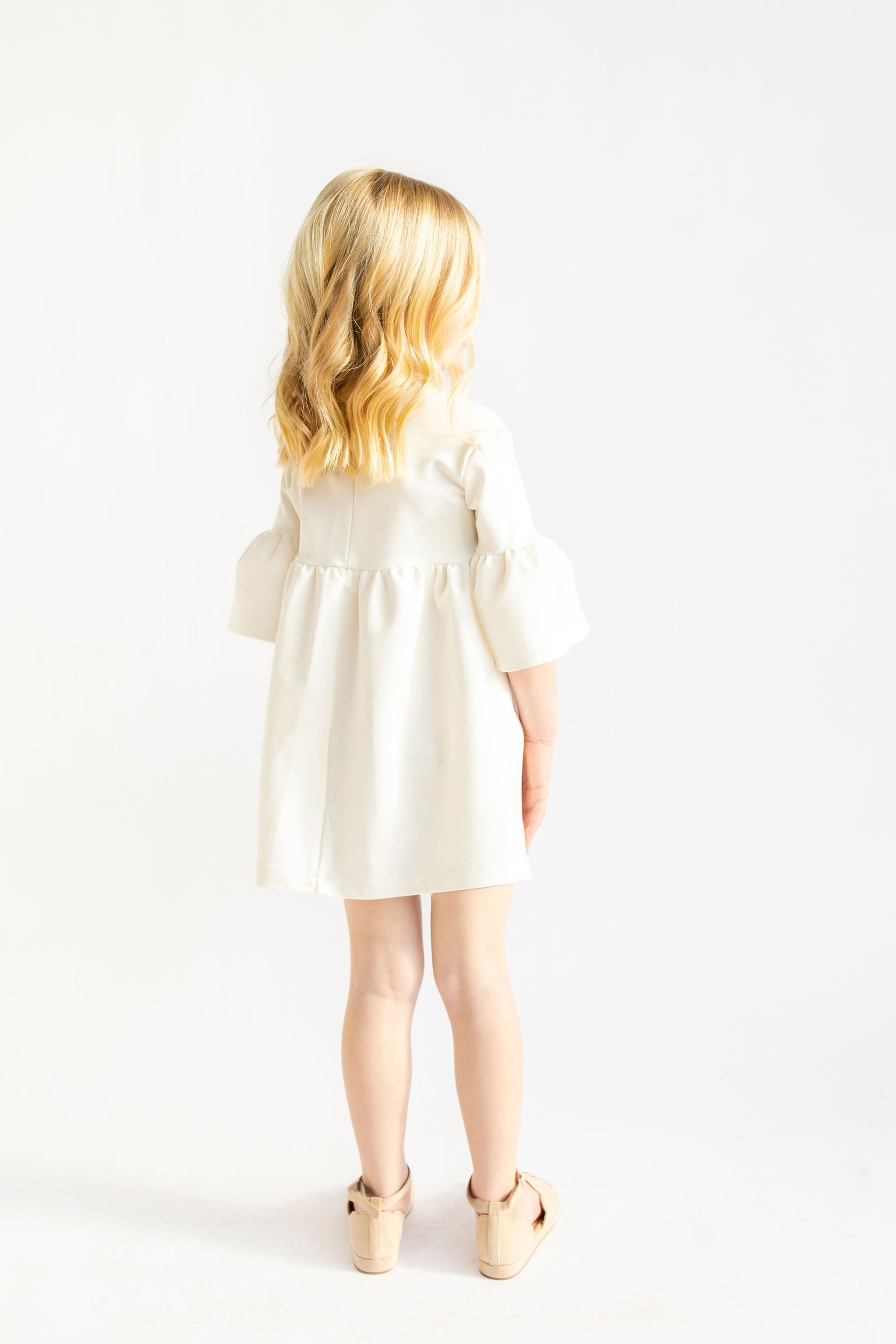 MINI - Cream - Ruffle Bell Dress