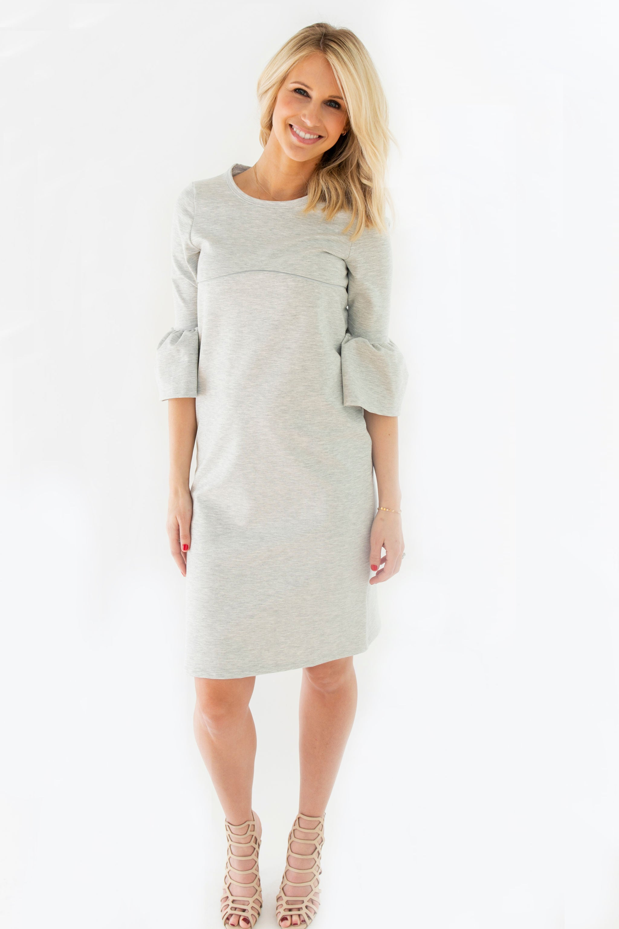 Grey - Bell Sleeve Nursing Dress