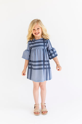 MINI - Caitlin Wilson Windowpane - Ruffle Bell Dress