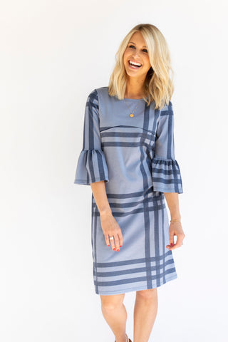 Shift Nursing Dress - Tall - Charcoal Plaid