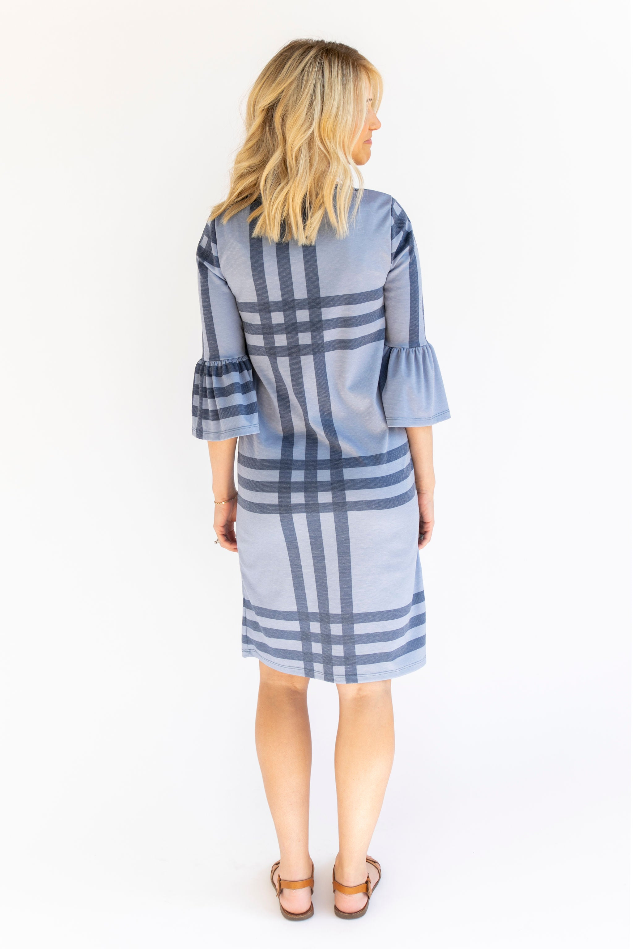 CW Windowpane - Bell Sleeve Nursing Dress