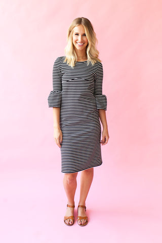 Charcoal - Bell Sleeve Nursing Dress