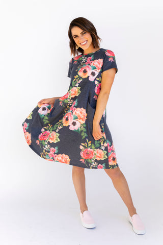 Shift Nursing Dress - Pine Floral