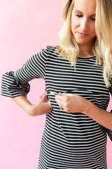 Charcoal Stripe - Bell Sleeve Nursing Dress