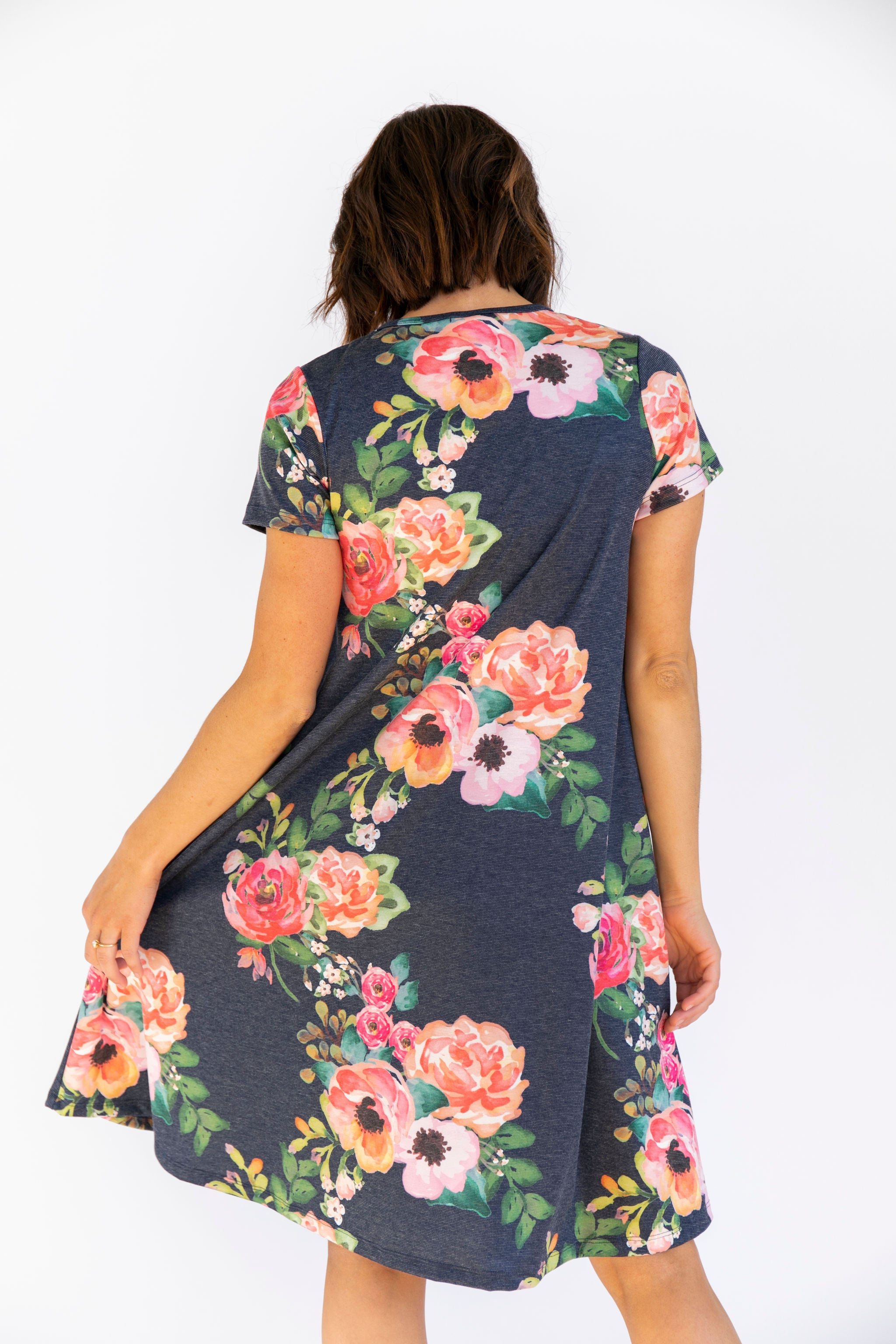 Short Sleeve Swing Nursing Dress - Floral
