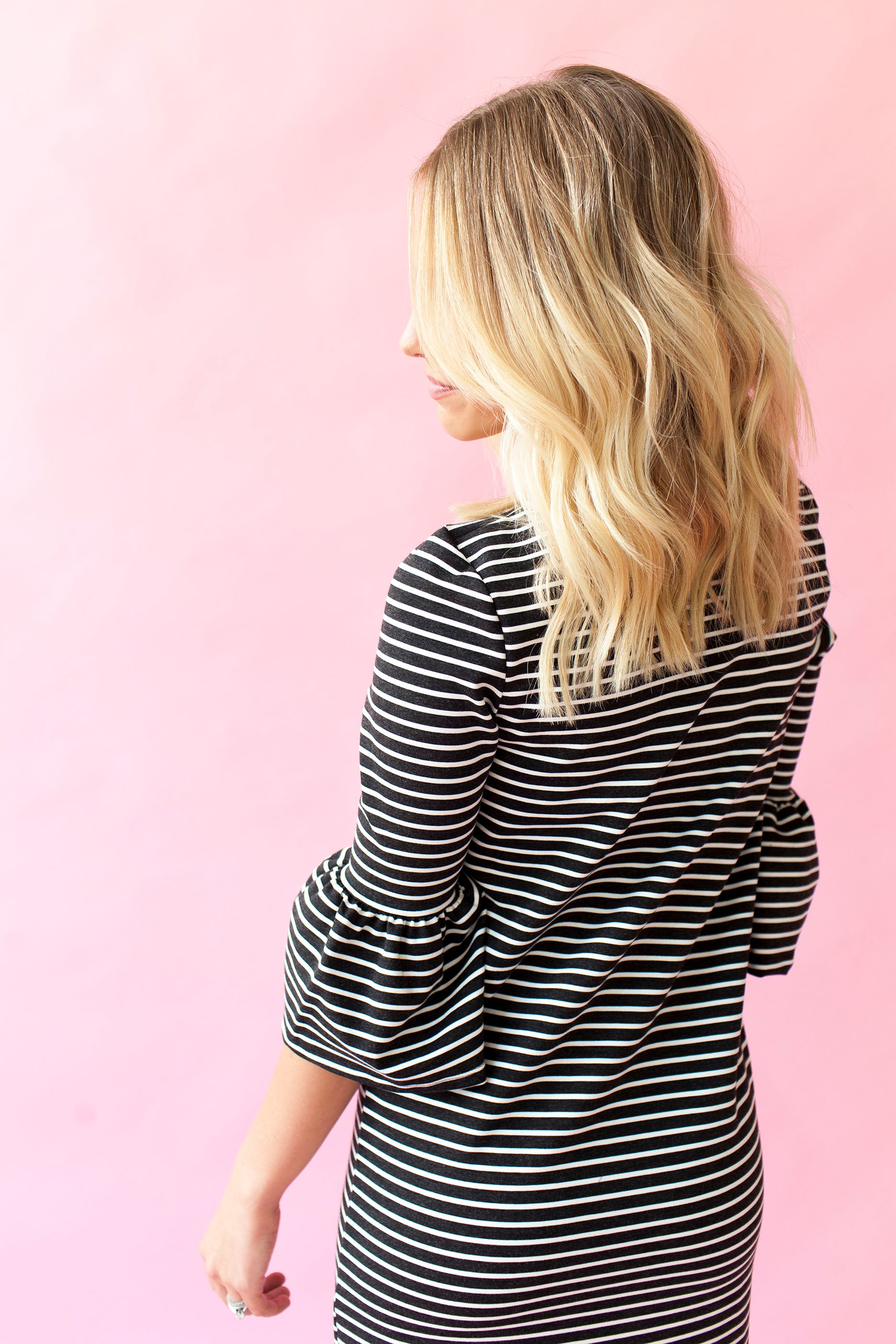 Navy Stripe - Bell Sleeve Nursing Dress
