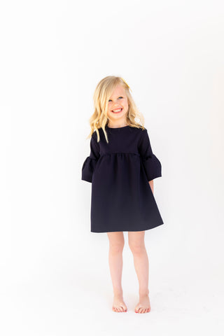 MINI - Navy - Ruffle Bell Dress