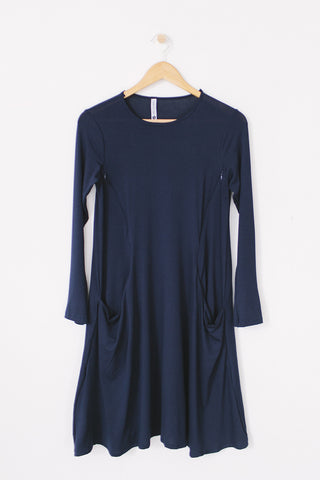 Long Sleeve Swing Nursing Dress - Navy