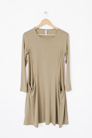 Long Sleeve Swing Nursing Dress - Olive