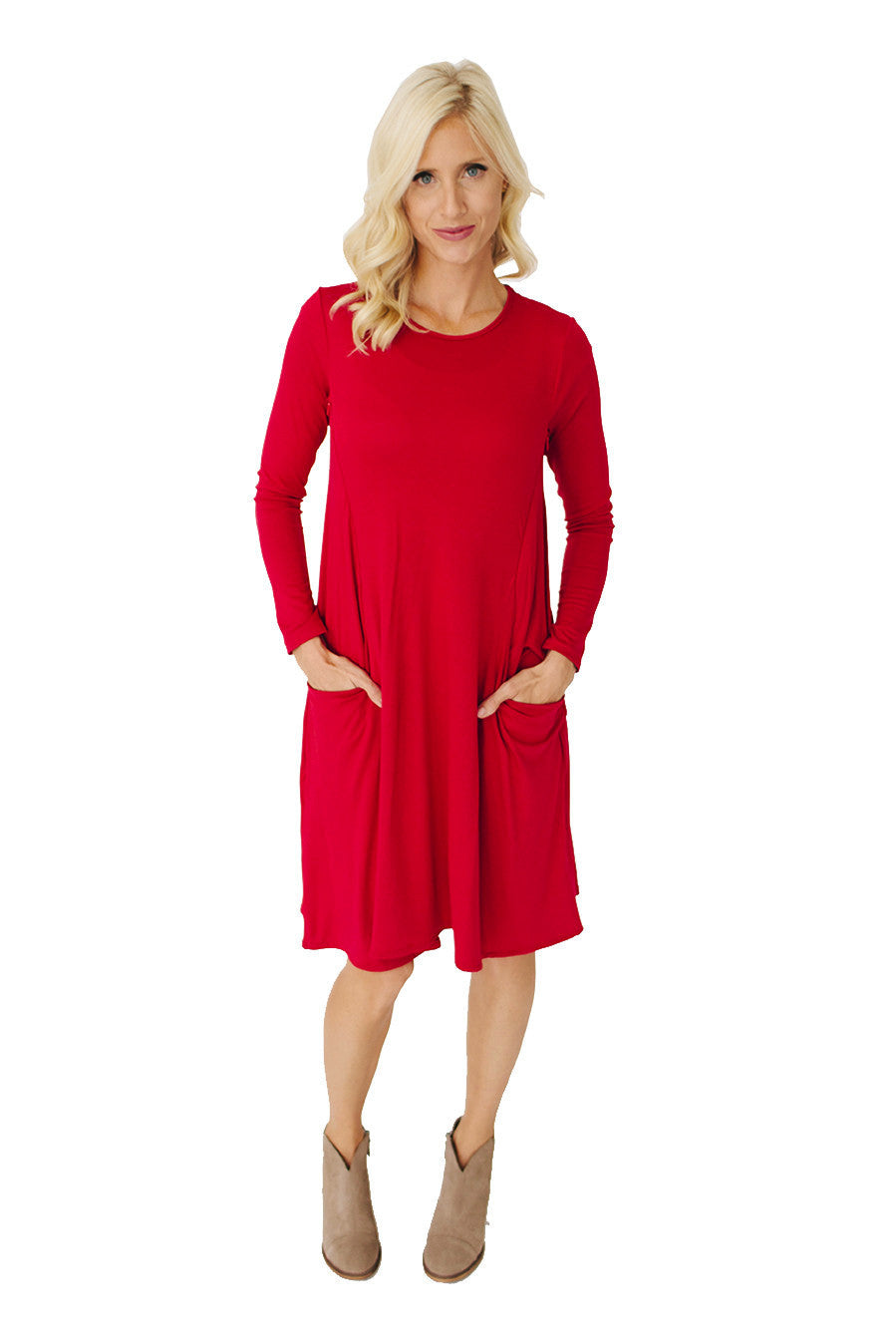 Long Sleeve Swing Nursing Dress - Red