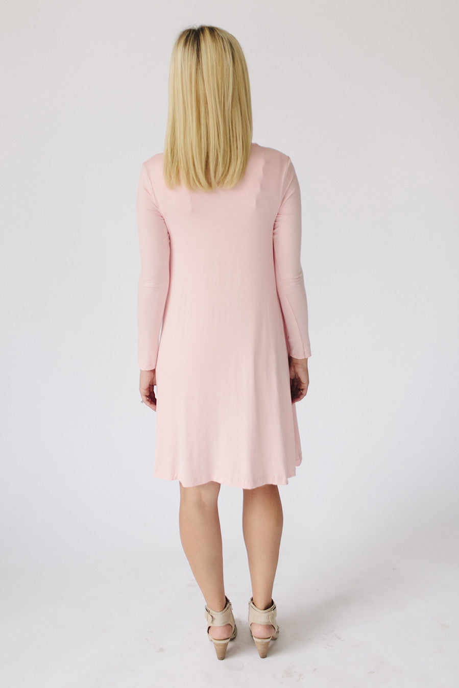 Long Sleeve Swing Nursing Dress - Dusty Pink