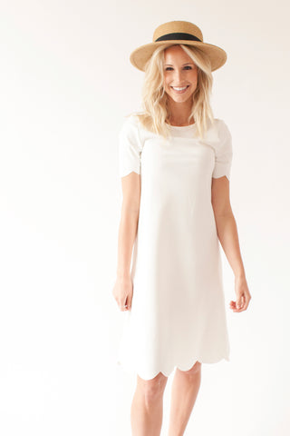 SECOND - Ivory -Scalloped Nursing Dress
