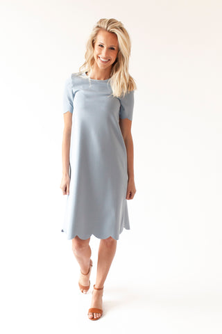 Navy -Scalloped Nursing Dress