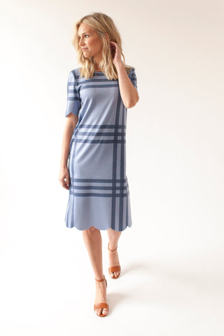 SECOND - CW Windowpane - Scalloped Nursing Dress