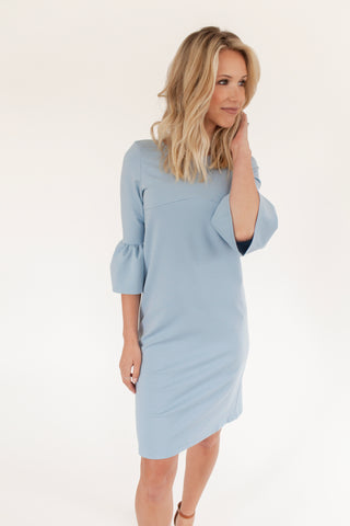 SECOND - Chambray - Bell Sleeve Nursing Dress