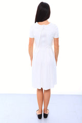 SALE - Crop Top Skater Nursing Dress - White