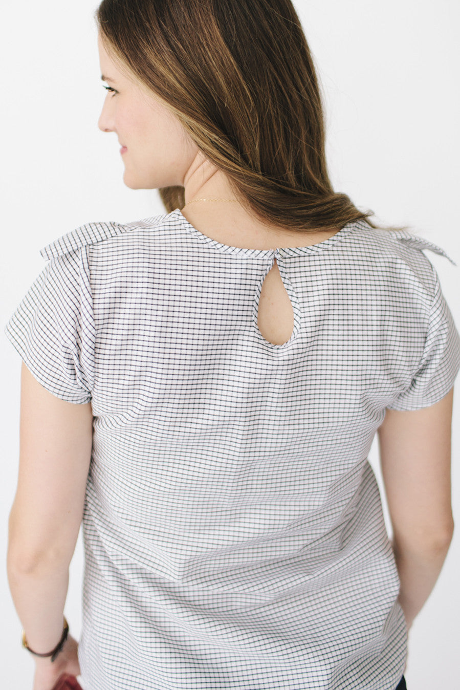 The Ruffle Top - Black + White Grid