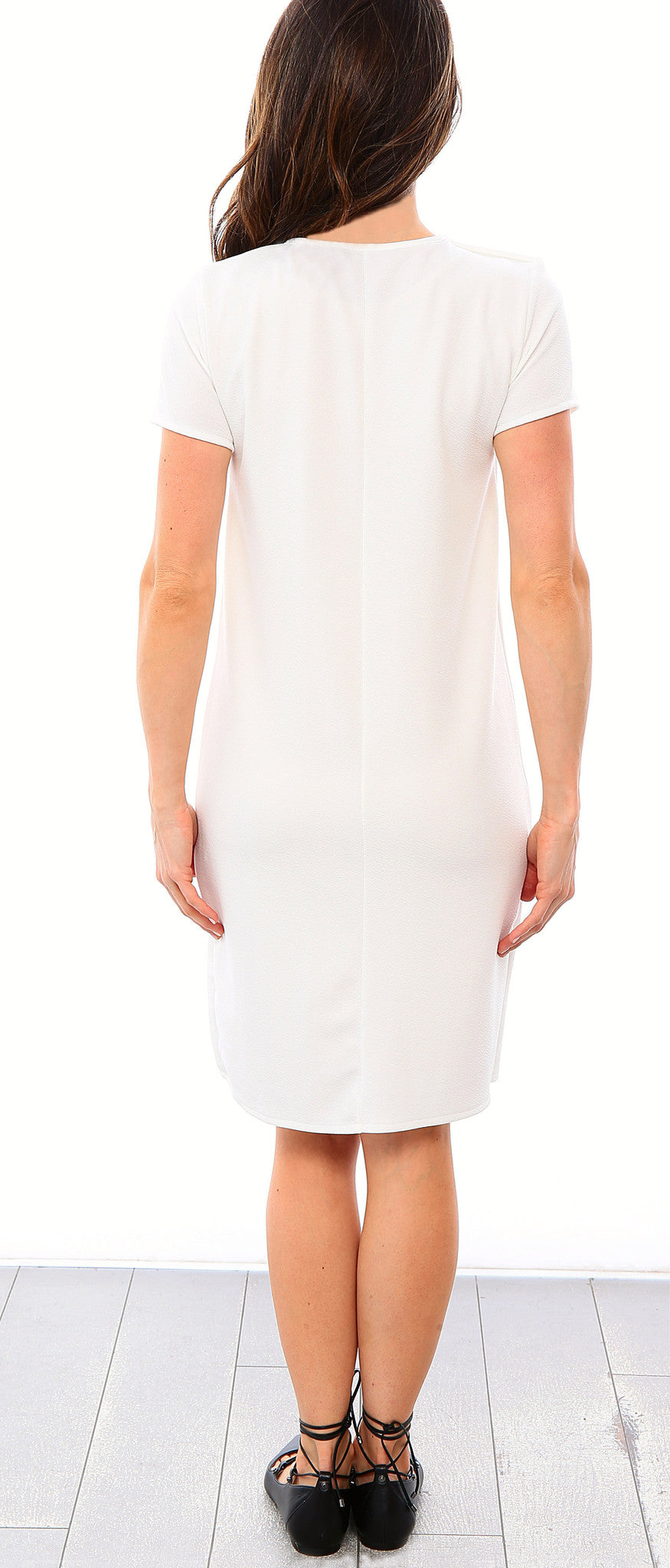 Shift Panel Dress - Off White - Sale