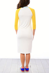 Raglan Sleeve Nursing Dress - White/Lemon/Blue Spa