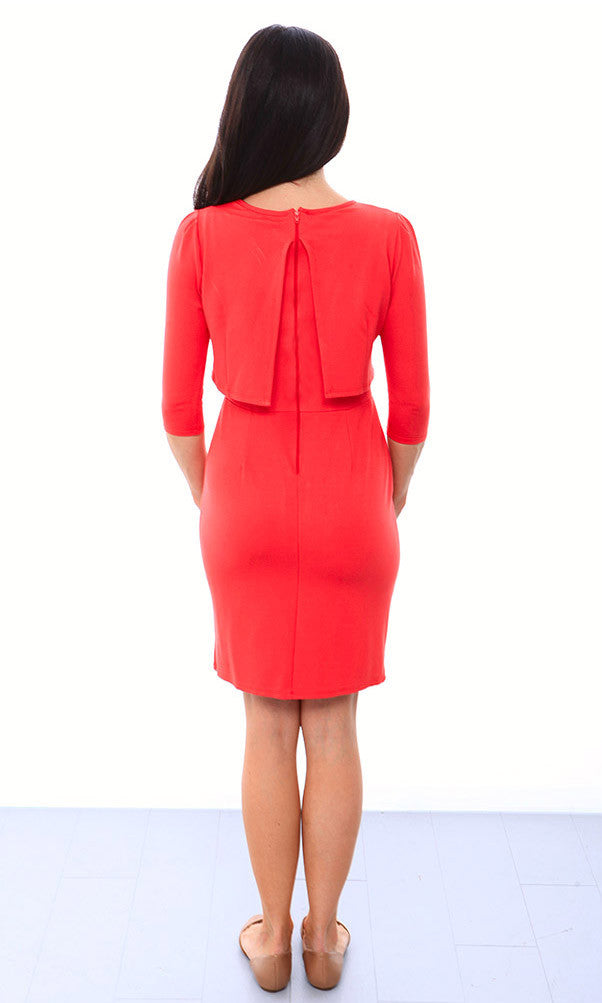 Crop Top Pencil Skirt Nursing Dress - Poppy Red