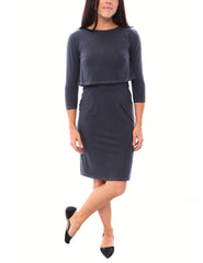 SALE - Crop Top Pencil Skirt Nursing Dress - Slate Grey